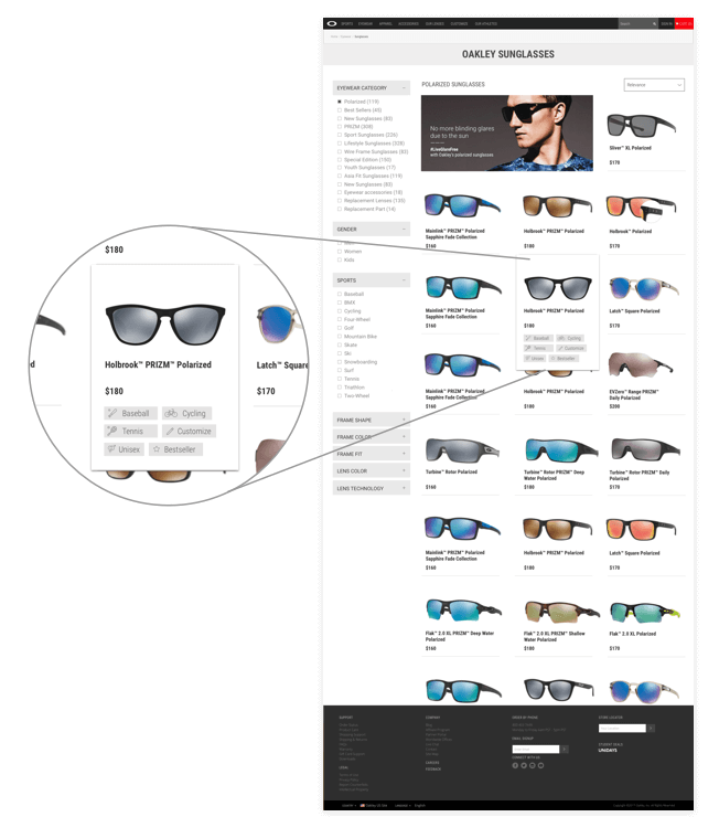 769b55aa5e oakley product listing page tagging system